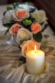 Burning Candle on Banquet Table — Stock Photo