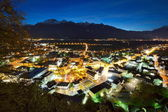Nightscene of Vaduz in Liechtenstein at night — Stock Photo