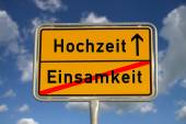 German road sign loneliness and wedding — Stock Photo