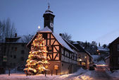 Town Hall and Christmas tree at night — Stock Photo