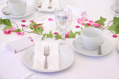 Solemnly laid wedding  table — Stock Photo