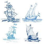 Blue stamp ships — Stockfoto