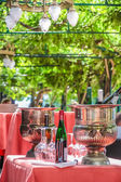 Solemnly laid table with wine glasses — Stock Photo