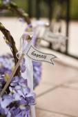 Hooray sign on a wedding basket — Stock Photo