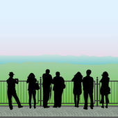 Silhouettes of people on the observation deck, vector — Stock Vector