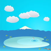 Mountain and lake at the background of the cloudy sky, vector il — Stock Vector