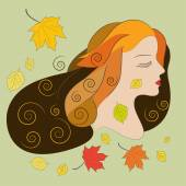 Young woman with autumn leaves, flat vector illustration — Stock Vector