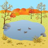 Flate autumn landscape, lake with ducks, vector illustration — Stock Vector