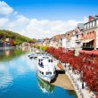 Dinant cityscape on Meuse river — Stock Photo