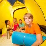 Fun in camping tent — Stock Photo #52640969