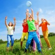 Happy kids catching ball — Stock Photo #52643283