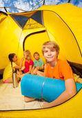 Fun in camping tent — Stock Photo