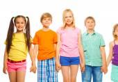 Five pretty kids in row — Stock Photo
