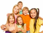 Six laughing kids together — Stock Photo