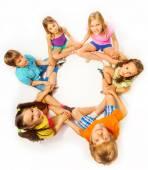 Six kids in lotus pose — Stock Photo