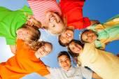 Happy children close in circle — Stock Photo