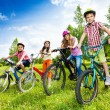 Постер, плакат: Happy kids in colorful bike helmets