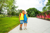 Two friends stand in park — Stock Photo
