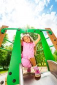Girl on chute — Stock Photo