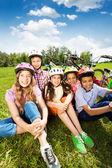 Happy kids in helmets — ストック写真