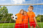 Smiling children with ball — Foto Stock