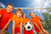 Happy children with ball — Foto Stock