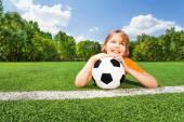 Boy holds ball — Stock Photo
