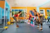 Girls in fitness club exercising — Foto de Stock