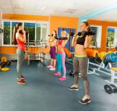 Young women exercising with dumbbells  — Foto Stock