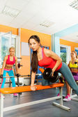 Lifting dumbbell weights — Foto de Stock