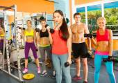 Five young people in fitness club — Photo