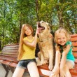 Two girls with happy dog — Stock Photo #52852479