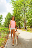 Nice teenage girl walks with dog — Stock Photo