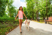 Beautiful teenage girl walking dogs — Stock Photo
