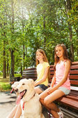 Two happy girls sitting on bench — Stock Photo