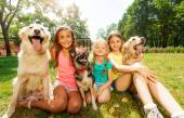 Three girls with dogs — Stock Photo