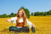 Laughing girl in costume of pirate — Stock Photo
