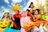 Halloween kids in beautiful costumes — Stock Photo