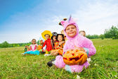 Many Halloween kids wear costumes — Stock Photo