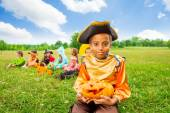 Smiling African boy in pirate costume — Stock Photo