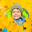 Boy laying in autumn leaves — Stock Photo #60426445