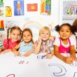 Kids drawing and filling letters — Stock Photo #60426475