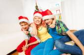Boys and girl having fun at party — Stock Photo