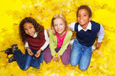 Group of kids sitting on autumn leaves — Stock Photo