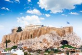 Acropolis of Athens from downtown — Stock Photo