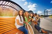 Beautiful girls with skateboards — Stock Photo