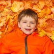 Happy boy laying on autumn leaves — Stock Photo #60955811