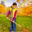 Asian girl with big red rake — Stock Photo #60956199