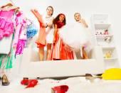 Girls choosing dresses — Foto de Stock