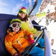 Boy with mother on ski chair lift — Stock Photo #65995847